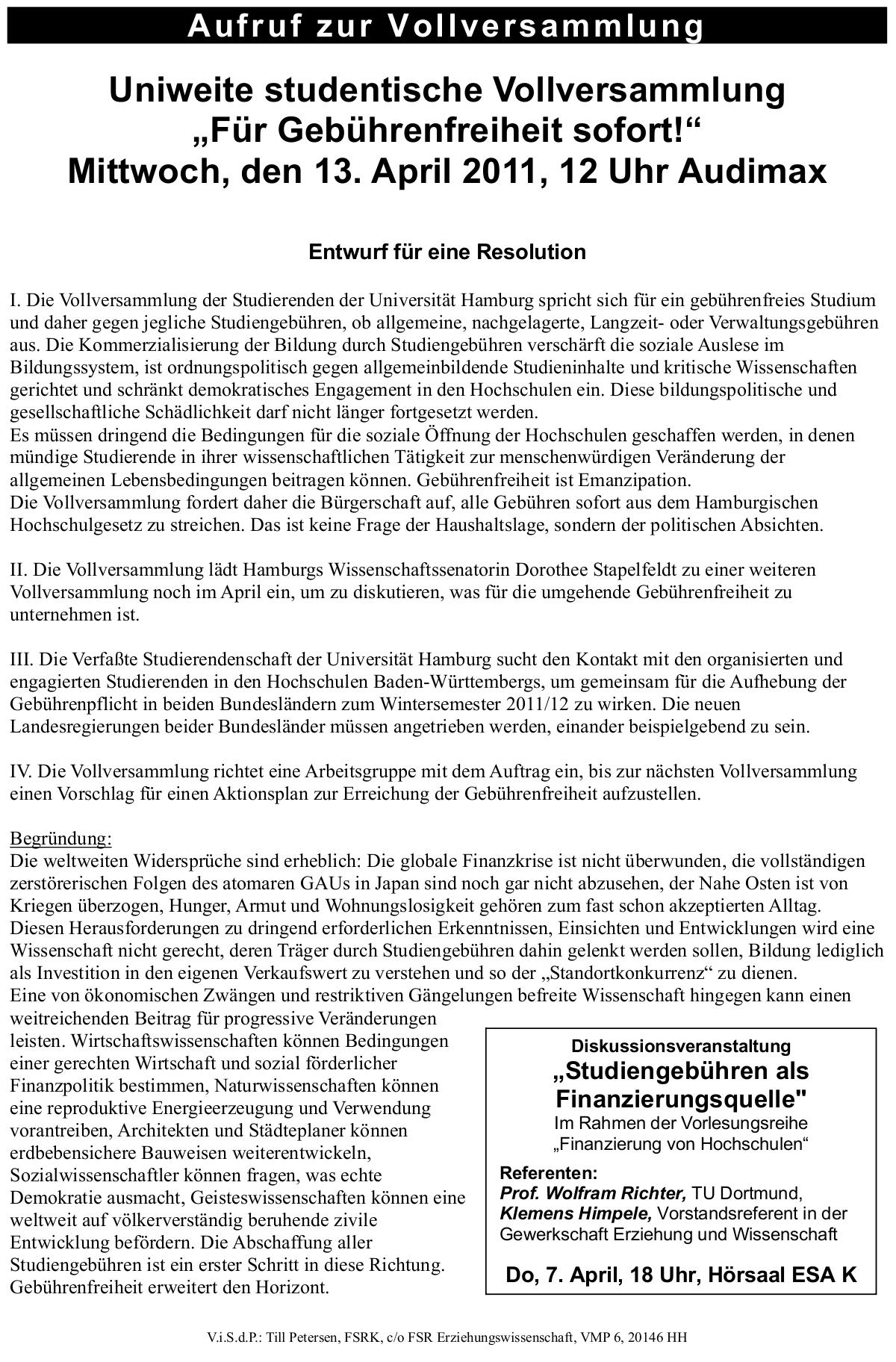 Resolutionsentwurf Vollversammlung 13.04.2011 12 Uhr Audimax Uni Hamburg