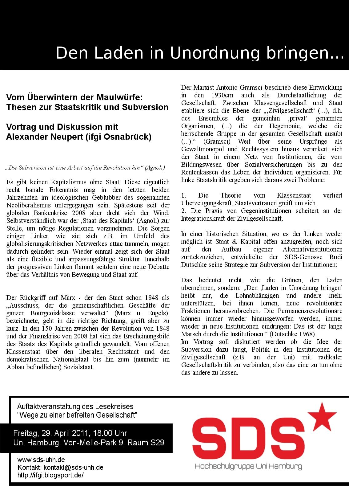 Vom Überwintern der Maulwürfe: Thesen zur Staatskritik und Subversion SDS Uni Hamburg