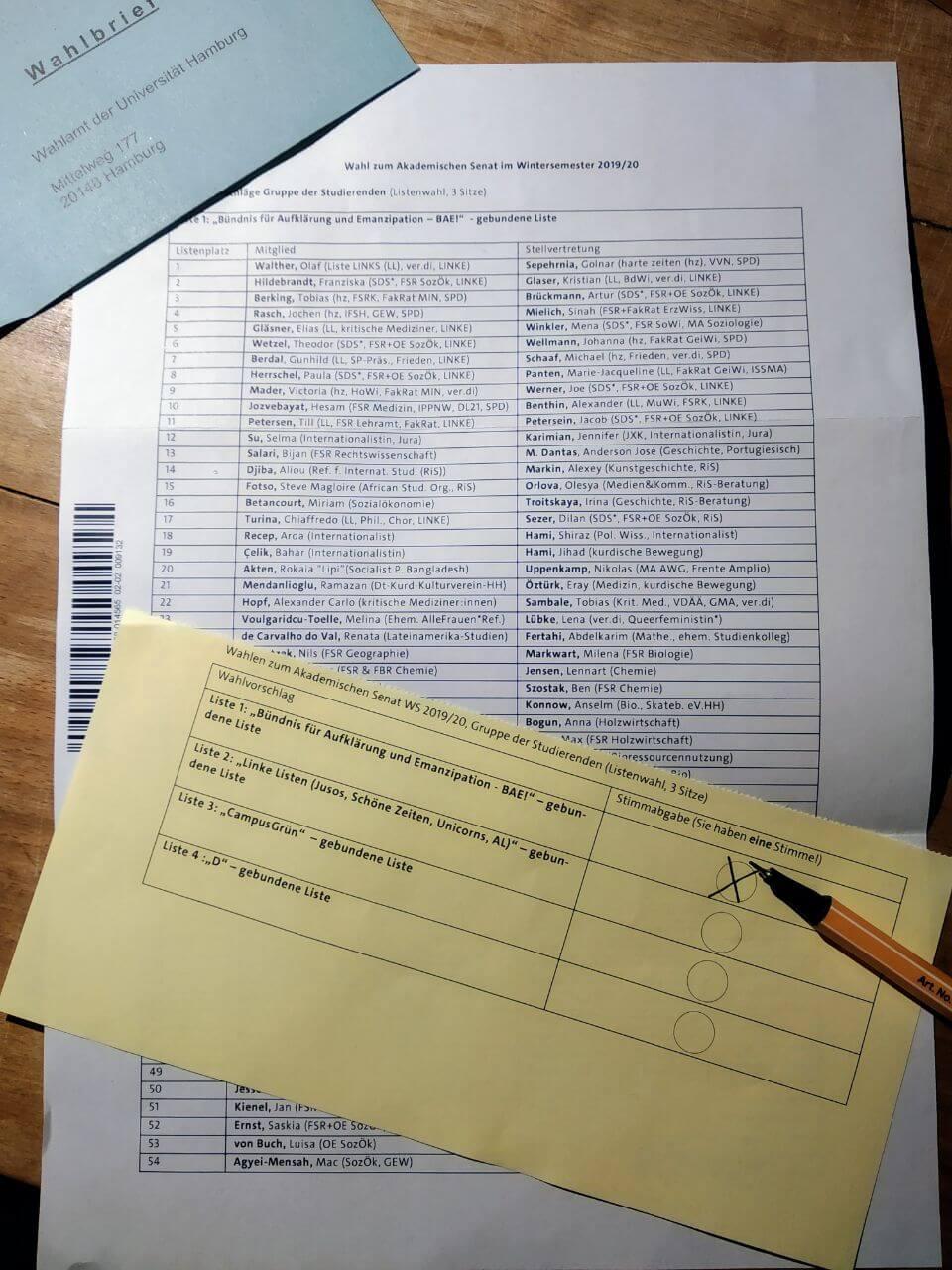 Aufruf zur Wahl des Akademischen Senats: Liste 1 – BAE!